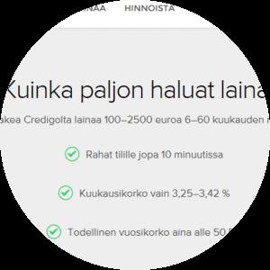 Credigo.fi:n lainarahat tilille nopeasti