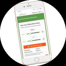Ostosraha.fi kotisivut mobiilissa