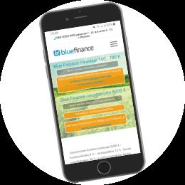 Bluefinance.fi kotisivut mobiilissa