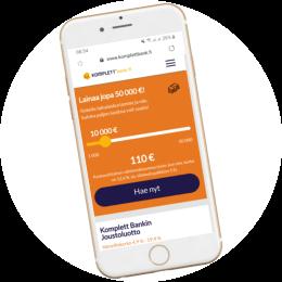 Komplettbank.fi kotisivut mobiilissa