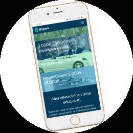 Bigbank.fi kotisivut mobiilissa