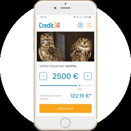 Credit24.com/fi kotisivut mobiilissa