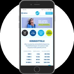 Euroloan.fi kotisivut mobiilissa