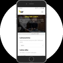 Gfmoney.fi kotisivut mobiilissa
