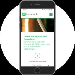 Instabank.fi kotisivut mobiilissa