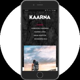 Kaarnalaina.fi kotisivut mobiilissa