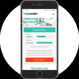MyLender.fi kotisivut mobiilissa