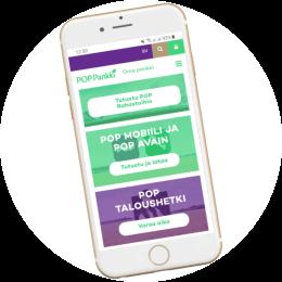 Poppankki.fi kotisivut mobiilissa